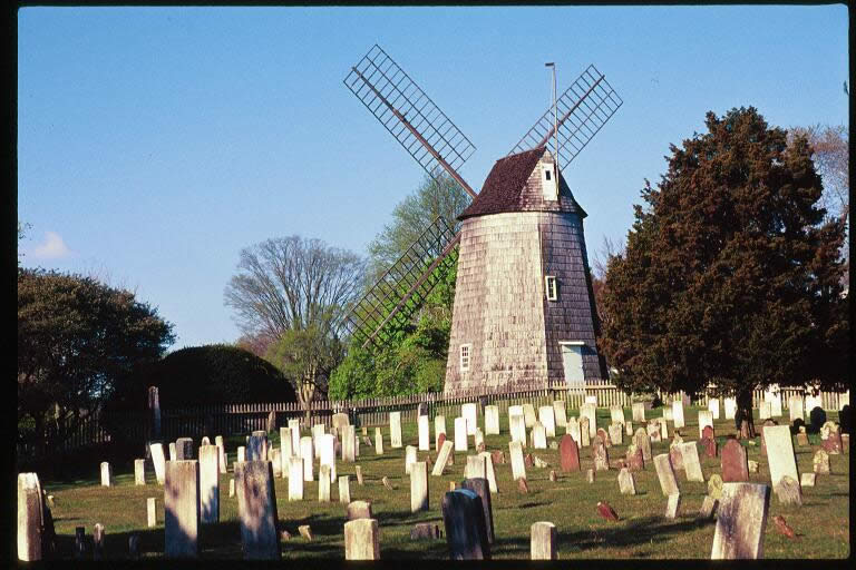 The North End Cemetery with a windmill in the background